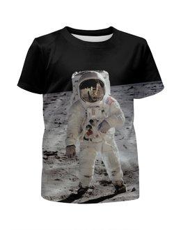 """Футболка с полной запечаткой для девочек """"Астронавт"""" - космос, луна, moon, астронавт, космонавт"""