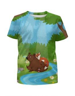 """Футболка с полной запечаткой для девочек """"Забавные животные"""" - животные, лес, медведь, лиса, природа"""