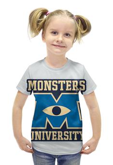 """Футболка с полной запечаткой для девочек """"Monsters University"""" - мультфильм, кино, cinema, университет монстров, monsters university"""