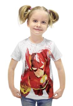 """Футболка с полной запечаткой для девочек """"Молния (The Flash)"""" - flash, молния, флэш"""