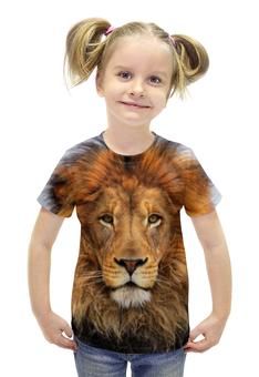 """Футболка с полной запечаткой для девочек """"Взгляд льва"""" - лев, lion, взгляд льва"""