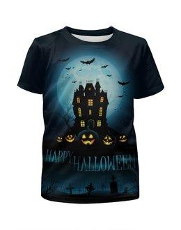 """Футболка с полной запечаткой для девочек """"Хеллоуин / Halloween"""" - тыква, джек-фонарь, kinoart, киноарт, jack-o'-lantern"""