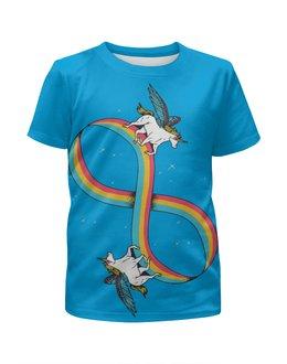"""Футболка с полной запечаткой для девочек """"Infinite Unicorn / Бесконечный Единорог"""" - арт, животные, лошадь, радуга, единорог"""