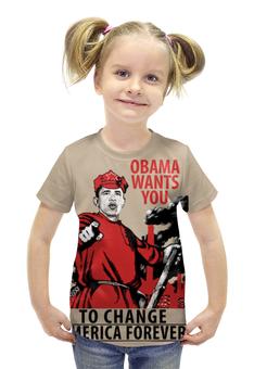 """Футболка с полной запечаткой для девочек """"Obama Red Army"""" - америка, россия, russia, обама, obama"""