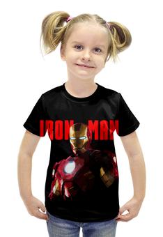 """Футболка с полной запечаткой для девочек """"iron man"""" - железный человек, iron man"""