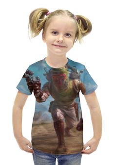 """Футболка с полной запечаткой для девочек """"Боба Фетт (Звездные Войны)"""" - star wars, шлем, boba fett, fan art, бластер"""