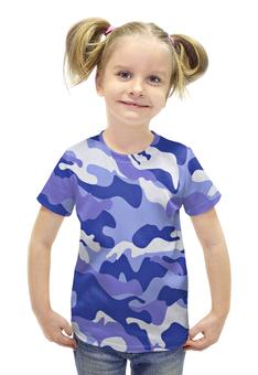 """Футболка с полной запечаткой для девочек """"Сине-Белый Камуфляж"""" - армия, камуфляж, camouflage, военный, сине белый камуфляж"""
