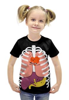 """Футболка с полной запечаткой для девочек """"Добрые-внутренности"""" - анатомия, anatomy, доброта, внутрености"""