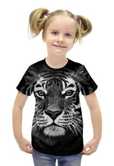 """Футболка с полной запечаткой для девочек """"Белый Тигр"""" - животные, тигр, иллюстрация"""