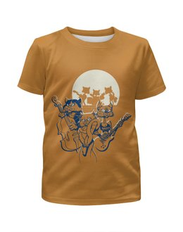 """Футболка с полной запечаткой для девочек """"Кошачий концерт"""" - музыка, группа, кошки, джаз, концерт"""