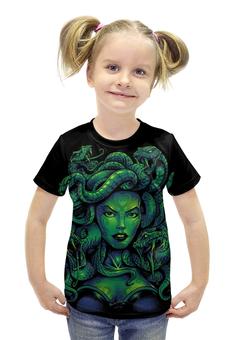 """Футболка с полной запечаткой для девочек """"Медуза Горгона"""" - змея, чудовище, мифология, греция, медуза горгона"""