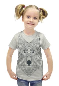 """Футболка с полной запечаткой для девочек """"Волчий выбор"""" - арт, рисунок, волк, с волком, денис гесс"""