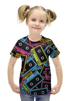 """Футболка с полной запечаткой для девочек """"Кассеты"""" - ретро, рисунок, дизайн, кассеты"""