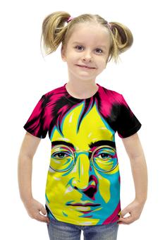 """Футболка с полной запечаткой для девочек """"Джон Леннон"""" - поп арт, рисунок, джон леннон"""
