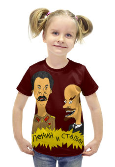 """Футболка с полной запечаткой для девочек """"Ленин и Сталин (beavis and butt-head)"""" - ленин, сталин, бивис и батхед, beavis and butt-head"""