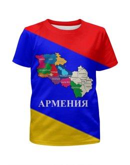 """Футболка с полной запечаткой для девочек """"Армянски карта"""" - armenia, карта, флаг, flag, армениа"""
