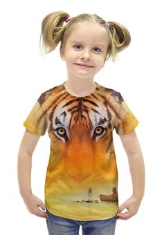 """Футболка с полной запечаткой для девочек """"Жизнь Пи"""" - природа, тигр, приключения, life of pi, жизнь пи"""