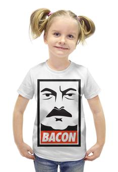 "Футболка с полной запечаткой для девочек ""Ron Swanson (Bacon)"" - obey, ron swanson, рон свонсон, bacon"
