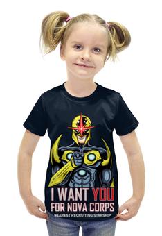 """Футболка с полной запечаткой для девочек """"I want you for nova corps"""" - воин, супергерой"""