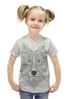 """Футболка с полной запечаткой для девочек """"Волк-шаман"""" - животные, узоры, шаман, волк, wolf"""