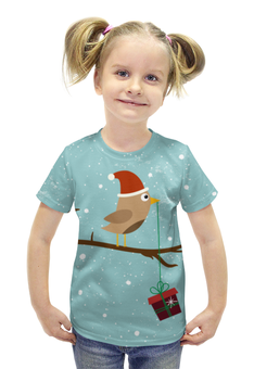 """Футболка с полной запечаткой для девочек """"Подарочек"""" - подарок, птичка, рождество, санта, merry christmas"""