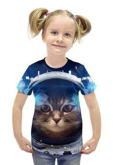 """Футболка с полной запечаткой для девочек """"Котосмонавт"""" - кот, космос, животное, костюм"""