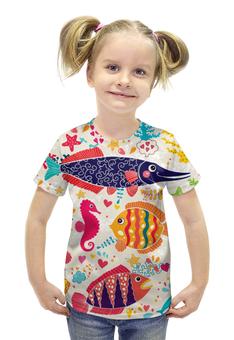 """Футболка с полной запечаткой для девочек """"Обитатели моря 2"""" - море, рисунок, рыбки, обитатели моря"""