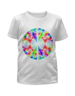 """Футболка с полной запечаткой для девочек """"glitch art (калейдоскоп)"""" - круг, glitch art, калейдоскоп, wax, радужный круг"""