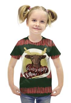 """Футболка с полной запечаткой для девочек """"A very merry X-Mas"""" - подарок, рождество, олень, deer, merry christmas"""