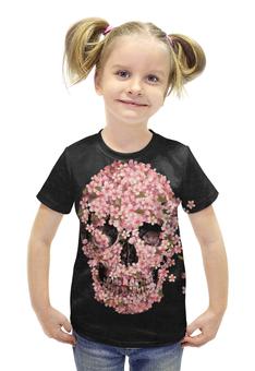 """Футболка с полной запечаткой для девочек """"розовый череп"""" - череп, цветы, pink, розовый, 2015"""