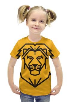 """Футболка с полной запечаткой для девочек """"Лев. Стилизация"""" - лев, рисунок, графика, стилизация"""