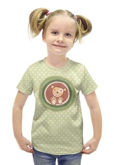 """Футболка с полной запечаткой для девочек """"Медвежонок"""" - животные, стиль, мультфильм, медвежонок, детский рисунок"""