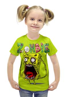 """Футболка с полной запечаткой для девочек """"Zombie """" - страшилка"""