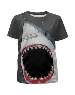 """Футболка с полной запечаткой для девочек """"Акула"""" - иллюстрация, оскал, акула, shark"""