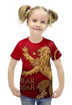 """Футболка с полной запечаткой для девочек """"Игра престолов. Ланнистеры"""" - игра престолов, game of thrones, ланнистер, песнь льда и пламени, house lannister"""