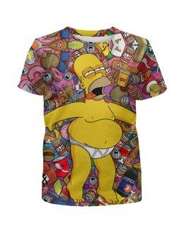 """Футболка с полной запечаткой для девочек """"American beauty Homer Simpson"""" - симпсоны, гомер симпсон, the simpsons, homer simpson"""