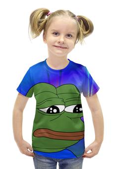 """Футболка с полной запечаткой для девочек """"SAD FROG"""" - мем, meme, грустная лягушка, sad frog, pepe frog"""