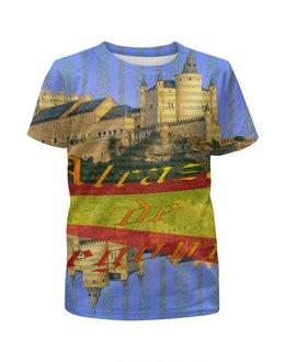 """Футболка с полной запечаткой для девочек """"Средневековой испанский замок Сеговия."""" - желтый, испания, замок, полоски, крепость"""