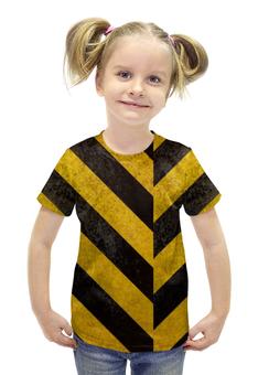 """Футболка с полной запечаткой для девочек """"Полосы 3"""" - чёрный, жёлтый, полосы, диагональ"""