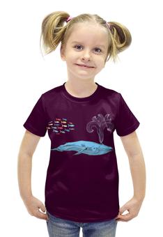 """Футболка с полной запечаткой для девочек """"Киты и волны"""" - море, кит, рыба"""