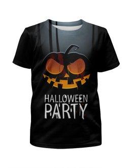 """Футболка с полной запечаткой для девочек """"HALLOWEEN PARTY"""" - хэллоуин, тыква, halloween party"""