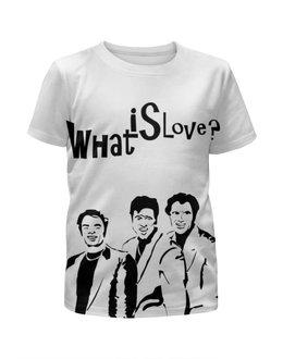 """Футболка с полной запечаткой для девочек """"What is love"""" - любовь, джим керри, what is love"""