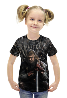"""Футболка с полной запечаткой для девочек """"game of thrones ned stark"""" - игра престолов, winter is coming, game of thrones, ned stark, нэд старк"""