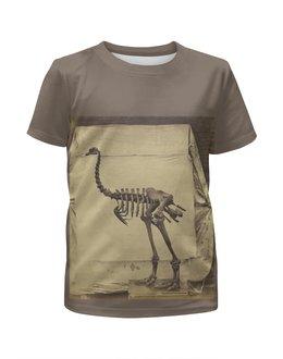 """Футболка с полной запечаткой для девочек """"Скелет Динозавра"""" - скелет, динозавр"""