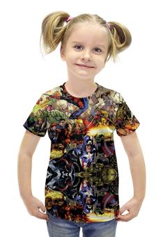 """Футболка с полной запечаткой для девочек """"Герои Марвела"""" - комиксы, герои, marvel, heroes, captain america"""