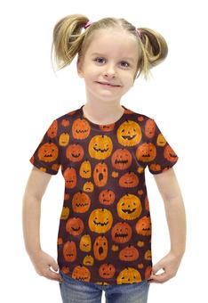 """Футболка с полной запечаткой для девочек """"Halloween """" - праздник, хэллоуин, тыква"""