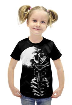 """Футболка с полной запечаткой для девочек """"Skull Art"""" - skull, череп, пистолет, gun, арт дизайн"""