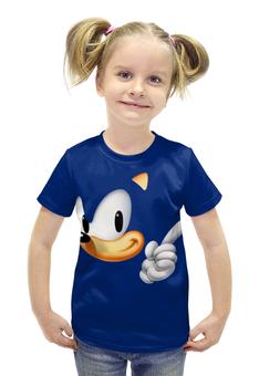 """Футболка с полной запечаткой для девочек """"Sonic"""" - ёжик"""