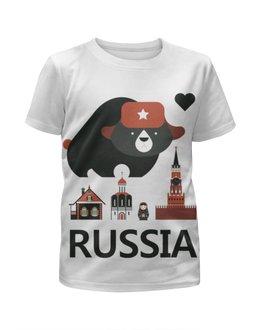 """Футболка с полной запечаткой для девочек """"Россия (Russia)"""" - матрешка, медведь, россия, russia, кремль"""