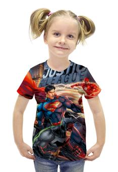 """Футболка с полной запечаткой для девочек """"Лига Правосудия (Justice League)"""" - супермен, молния, бэтмен, зеленый фонарь, лига правосудия"""